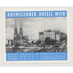 Kremslehner Hotels 2: Regina / Royal / Graben - Wien / Austria (Vintage Luggae Label)