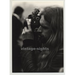 Portrait Of Long Haired Hippie Style Photographer With Nikon (Vintage Photo 1970s)
