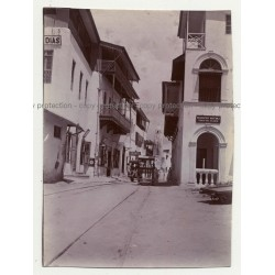 Vasco Da Gama Street - Mombasa: Push Trolleys, Pabst Beer  (Vintage Photo ~1910s/1920s)