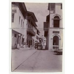 Vasco Da Gama Street - Mombasa: Push Trolleys, Pabst Beer  (Vintage Photo ~1910s/1920s)