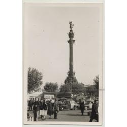 Columbus Monument, Taxis - La Rambla / Barcelona (Vintage Photo ~1950s/1960s)