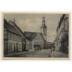 39638 Gardelegen / Germany: Rudolf Breitscheidstraße / Geschäfte (Vintage Postcard 1950)