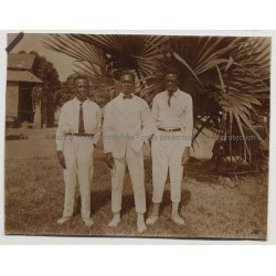 3 Stylish Black Men In White Clothing / Belgian Congo (Vintage Photo B/W 1927)