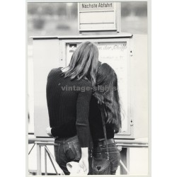 Long Haired Hippie Couple Looking For The Next Rhein Ferry (Vintage Photo)