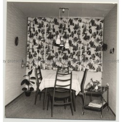 German Dining Room 1959 / Interior - Curtains (Vintage Photo B/W)