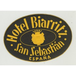 Hotel Biarritz - San Sebastián / Spain (Vintage Luggage Label)