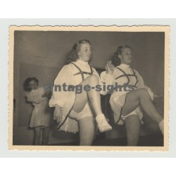 2 German Women In Traditional Costumes Practicing Dance (Vintage Photo 1940s)