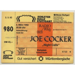 Joe Cocker - Night Calls Tour '92 Ticket N° 5723 Stuttgart - Unused (Vintage Memorabilia)
