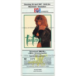 Tina Turner Break Every Rule '87 Ticket Mannheim 2 - Unused (Vintage Memorabilia)