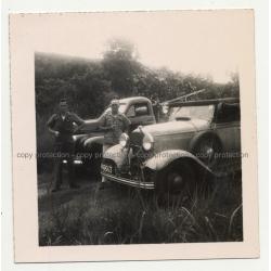 Studebaker M5 & 1930s Cabrio / Antelope Head On Cooler 2 (Vintage Photo Africa B/W ~1940s)