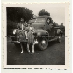 2 Girls In School Uniforms In Front Of Studebaker M5 (Vintage Photo Africa B/W ~1940s)