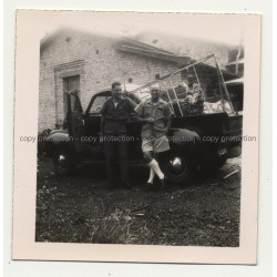2 Guys In Front Of Studebaker M5 / Side View (Vintage Photo Africa B/W ~1940s)