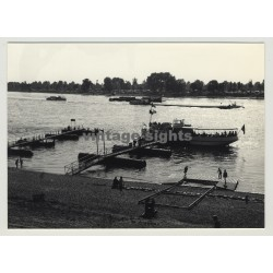 40597 Benrath / Germany: View Over The Rhine / Rhein / Ferry (Vintage Photo 1964)