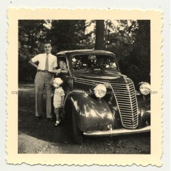 Small Child On Bonnet Of Ford F 1 / F-1 (Vintage Photo Africa B/W ~1950s)