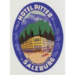 Hotel Pitter - Salzburg / Austria (Vintage Luggage Label)