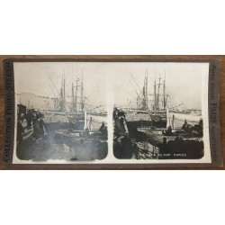 The Port Docks - Naples / Italy (Vintage Stereo Photo)