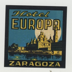 Hotel Europa - Zaragoza / Spain (Vintage Luggage Label)