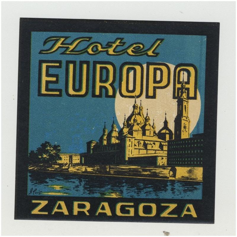 Hotel Europa - Zaragoza / Spain (Vintage Luggage Label)