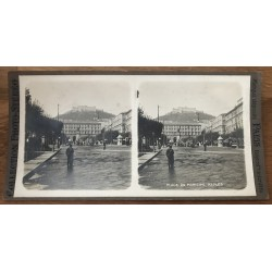 Municipal Square - Naples / Italy (Vintage Stereo Photo)
