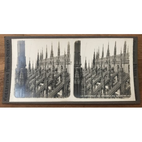 The Cathedral, General View Of Bell-Turrets - Milan / Italy (Vintage Stereo Photo)
