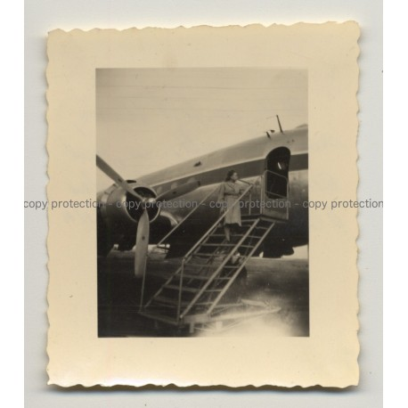 Airport Haven: Woman On Stairs Of Douglas DC4 / Sabena (Vintage Photo B/W ~1950s)