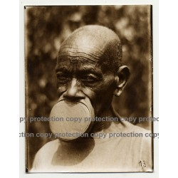 Native African Tribal Man / Upper Lip Plate - Mobali? (Vintage Sepia Photo B/W ~1930s)