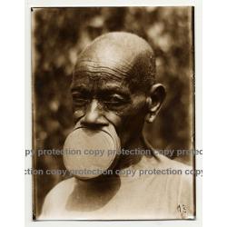 Native African Tribal Man / Upper Lip Plate - Mobali? (Vintage Sepia Photo B/W ~1930s)