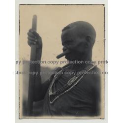 African Tribal Man / Upper Lip Plate - Shepherd's Crook (Vintage Photo B/W ~1930s)