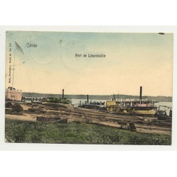 Port de Léopoldville - Congo / Africa (Vintage Hand Colored PC B/W)