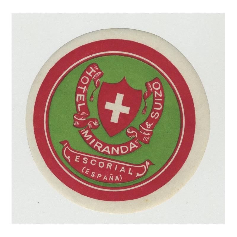 Hotel Miranda & Suizo / Spain (Vintage Luggage Label)
