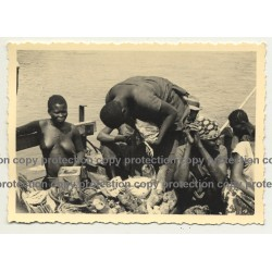 African Plucks Chicken Feathers On Boat Kitchen (Vintage Photo B/W ~1930s/1940s)