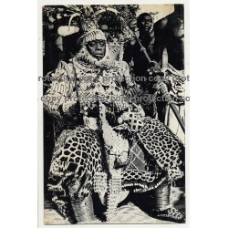 Nyimi, King Of Ba-Kuba In Ceremonial Dress / African Chief (Vintage PC B/W)