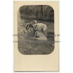 Woman In Water With Dog On Shoulder / Funny (Vintage PC B/W)