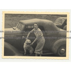 Woman & Dog On Side Step Of Hudson Terraplane Cabrio - Congo? (Vintage Photo B/W)