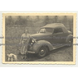 Woman & Dog In Front Of 1936 Hudson Terraplane Cabrio - Congo? (Vintage Photo B/W)