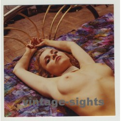 Pretty Nude Blonde Relaxing On Golden Bed / Pearl Necklace (Vintage Photo)