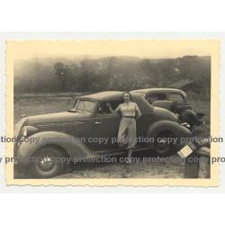 Lady In Knickerbockers & Her 1936 Hudson Terraplane Cabrio - Congo? (Vintage Photo B/W)