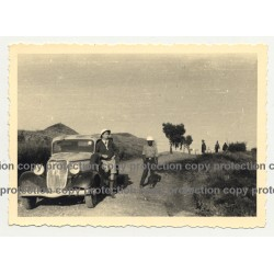 Driver & African Man Beside Modificated 1934 Ford Deluxe  - Congo? (Vintage Photo B/W)