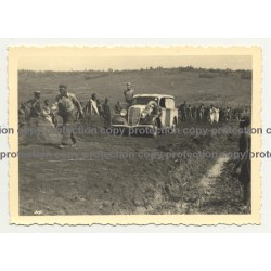 Modificated 1934 Ford Deluxe On Dirty Road / Natives  - Congo? (Vintage Photo B/W)