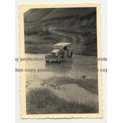 Modificated 1934 Ford Deluxe Crosses River - Congo? Africa (Vintage Photo B/W)