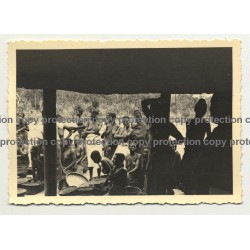 Looking Out Of Hut Onto Tribal Africans - Sarong / Congo? (Vintage Photo B/W ~1930s/1940s)