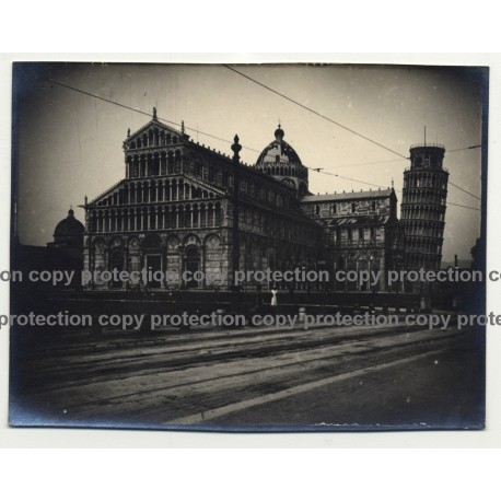 Leaning Tower Of Pisa & Cathedral / Italy (Vintage Photo / Gelatin Silver ~1920s)