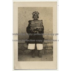 Native Bolivian/Peruvian? In Traditional Outfit / Inca (Real Photo PC 1930s/1940s)