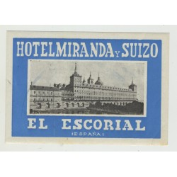 Hotel Miranda Y Suizo / Spain (Vintage Luggage Label)