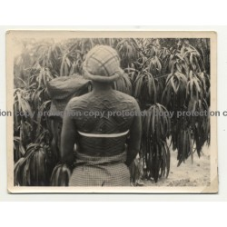 Native African Woman W. Tribal Marks On Back / Congo? (Vintage Photo B/W ~1930s/1940s)