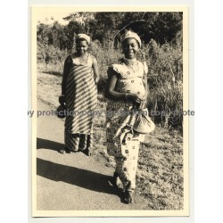 Native African Women From Goma - Congo / Fashion  (Vintage Photo B/W ~1950s)