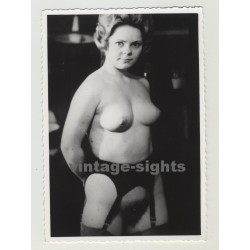 Small Tubby Nude W. Perky Boops Wearing Suspenders (Vintage Photo)