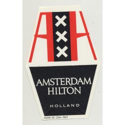 Hilton Amsterdam Hotel / Holland (Vintage Luggae Label ~1960s)