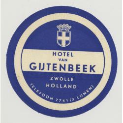 Hotel Van Gijtenbeek - Zwolle / Holland (Vintage Luggae Label)