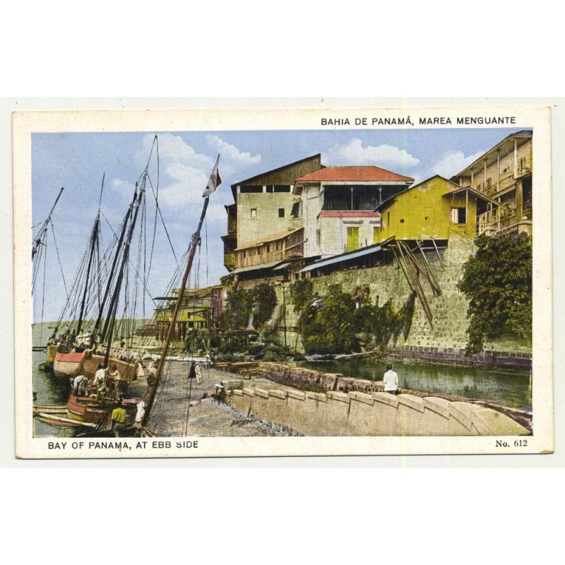 Bay Of Panama At Ebb Side / Sailboats (Vintage PC)